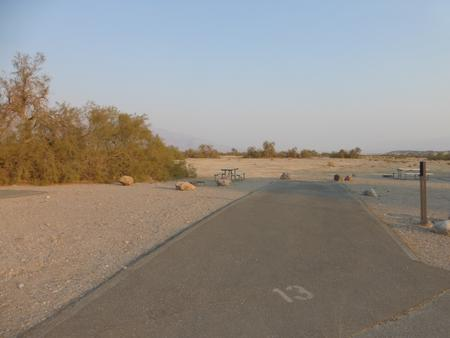 Furnace Creek Campground standard nonelectric site #13 with picnic table and fire ring