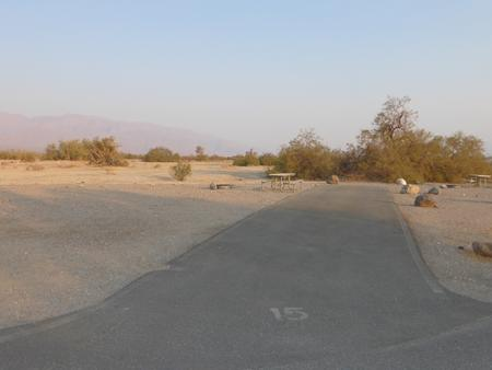 Furnace Creek Campground standard nonelectric site #15 with picnic table and fire ring