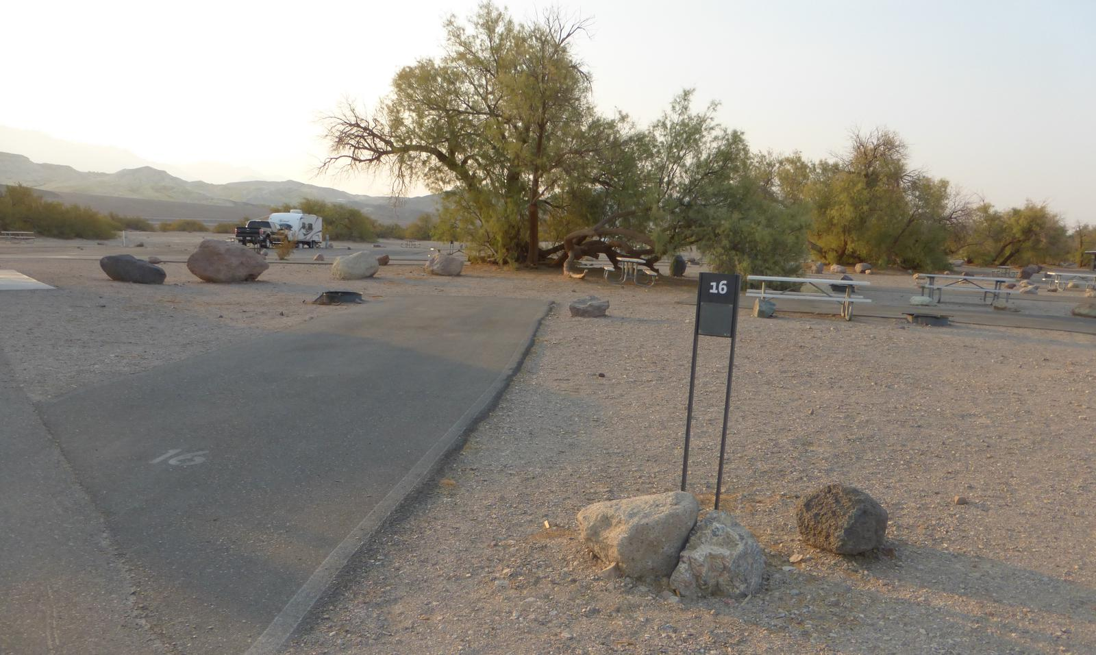 Furnace Creek Campground standard nonelectric site #16 with picnic table and fire ring.