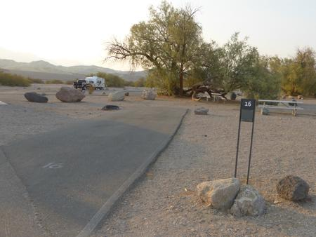 Furnace Creek Campground standard nonelectric site #16 with picnic table and fire ring