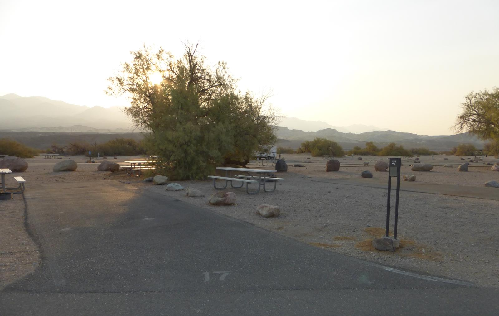 Furnace Creek Campground standard nonelectric site #17 with picnic table and fire ring.