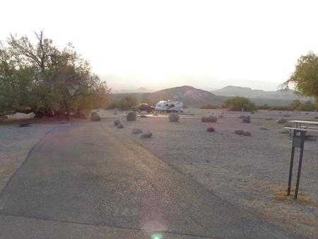 Furnace Creek Campground standard nonelectric site #18 with picnic table and fire ring