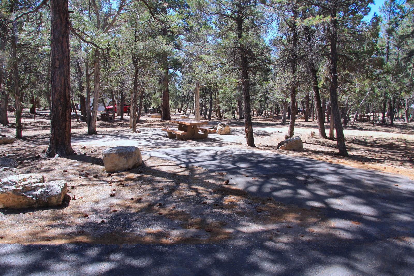 Parking spot and picnic table, Mather CampgroundThe parking spot and picnic table for Aspen Loop 10, Mather Campground