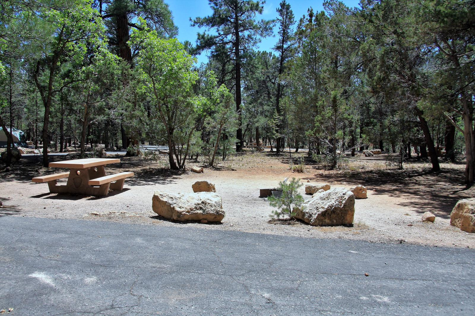 Parking spot, fire pit, and picnic table, Mather CampgroundThe parking spot, fire pit, and picnic table for Aspen Loop 14, Mather Campground