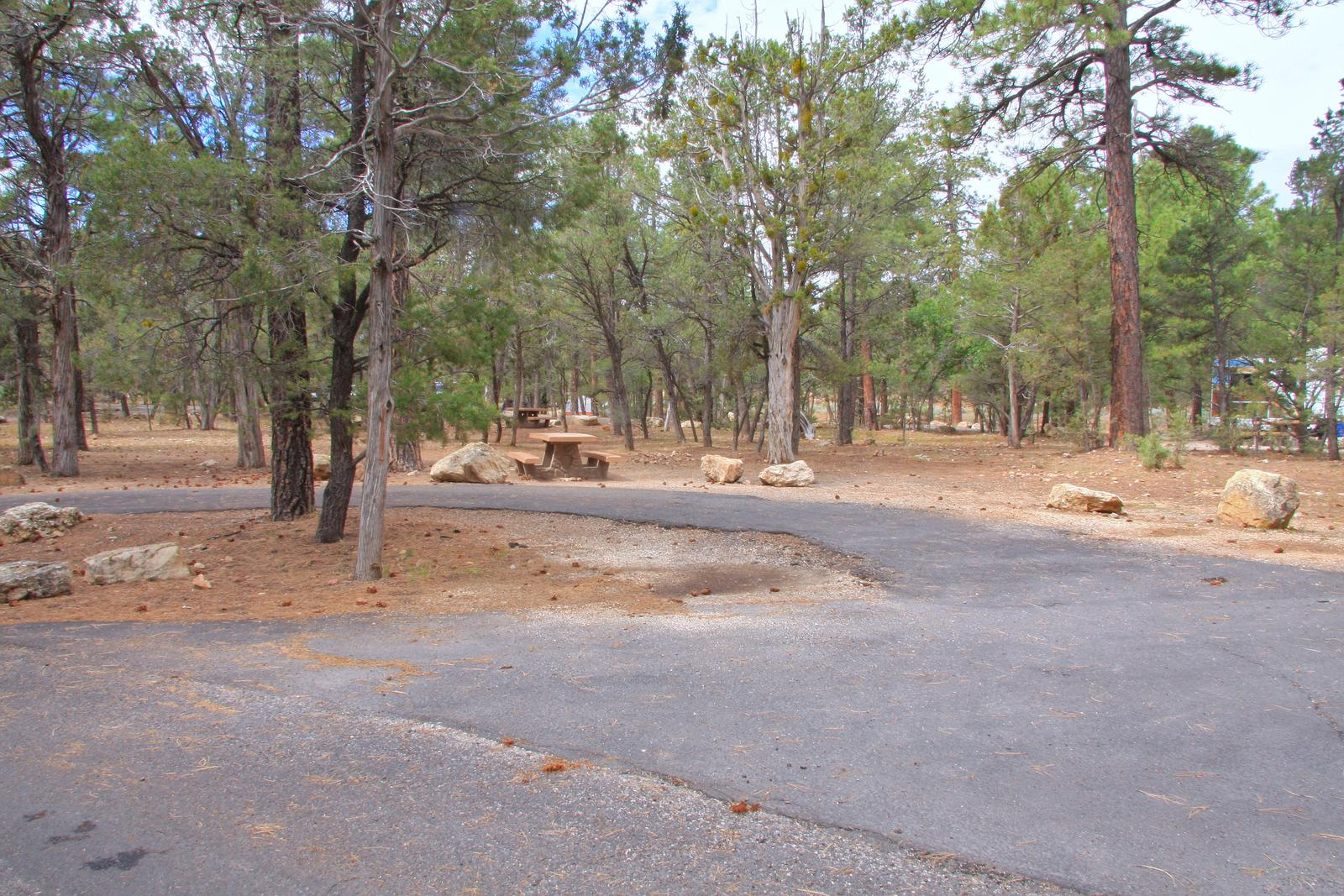 Parking spot and picnic table, Mather CampgroundThe parking spot and picnic table for Aspen Loop 16, Mather Campground
