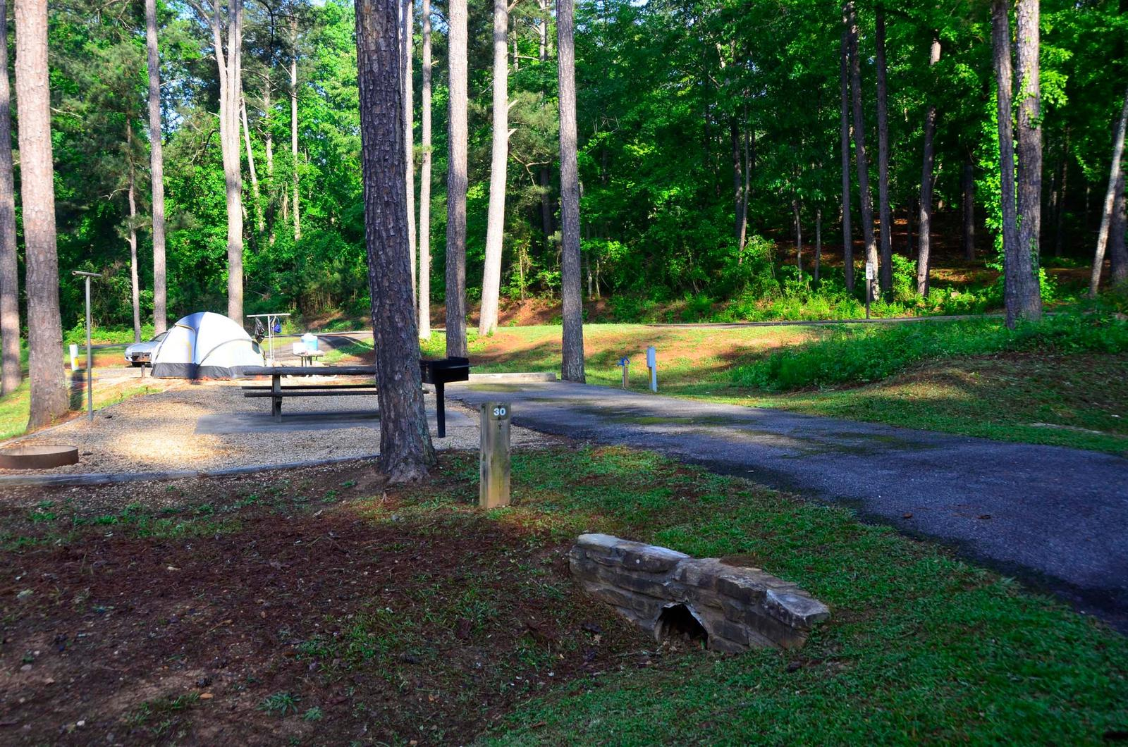Driveway slope, awning-side clearance.Sweetwater Campground, Campsite 30.