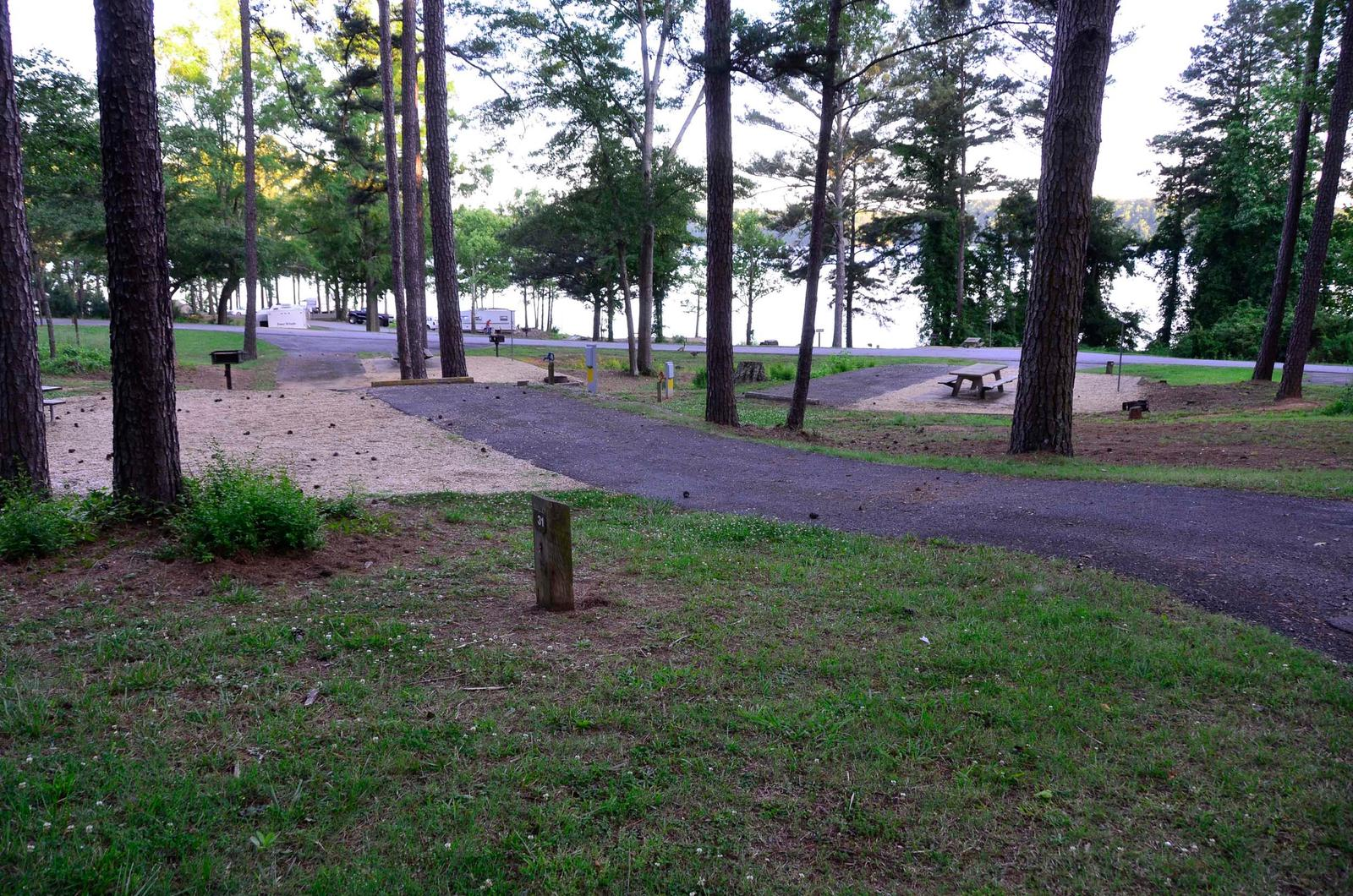 Driveway slope, awning-side clearance.Sweetwater Campground, Campsite 31.
