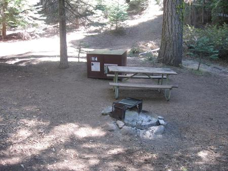 site 114, no generator loop, walk-in site, one vehicle, partial shade