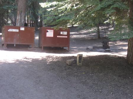 site 118, no generator loop, walk-in site, one vehicle, partial shade, near restrooms