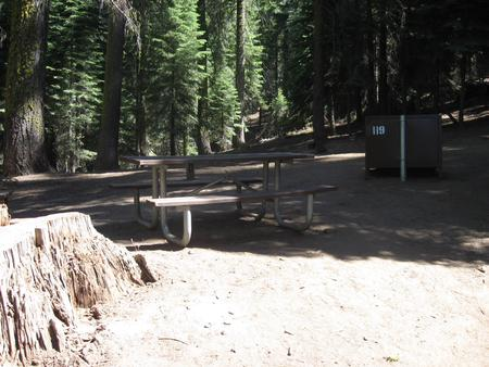 site 119, no generator loop, walk-in site, one vehicle, partial shade, near restrooms