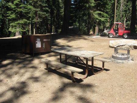 site 130, partial shade, near restroom