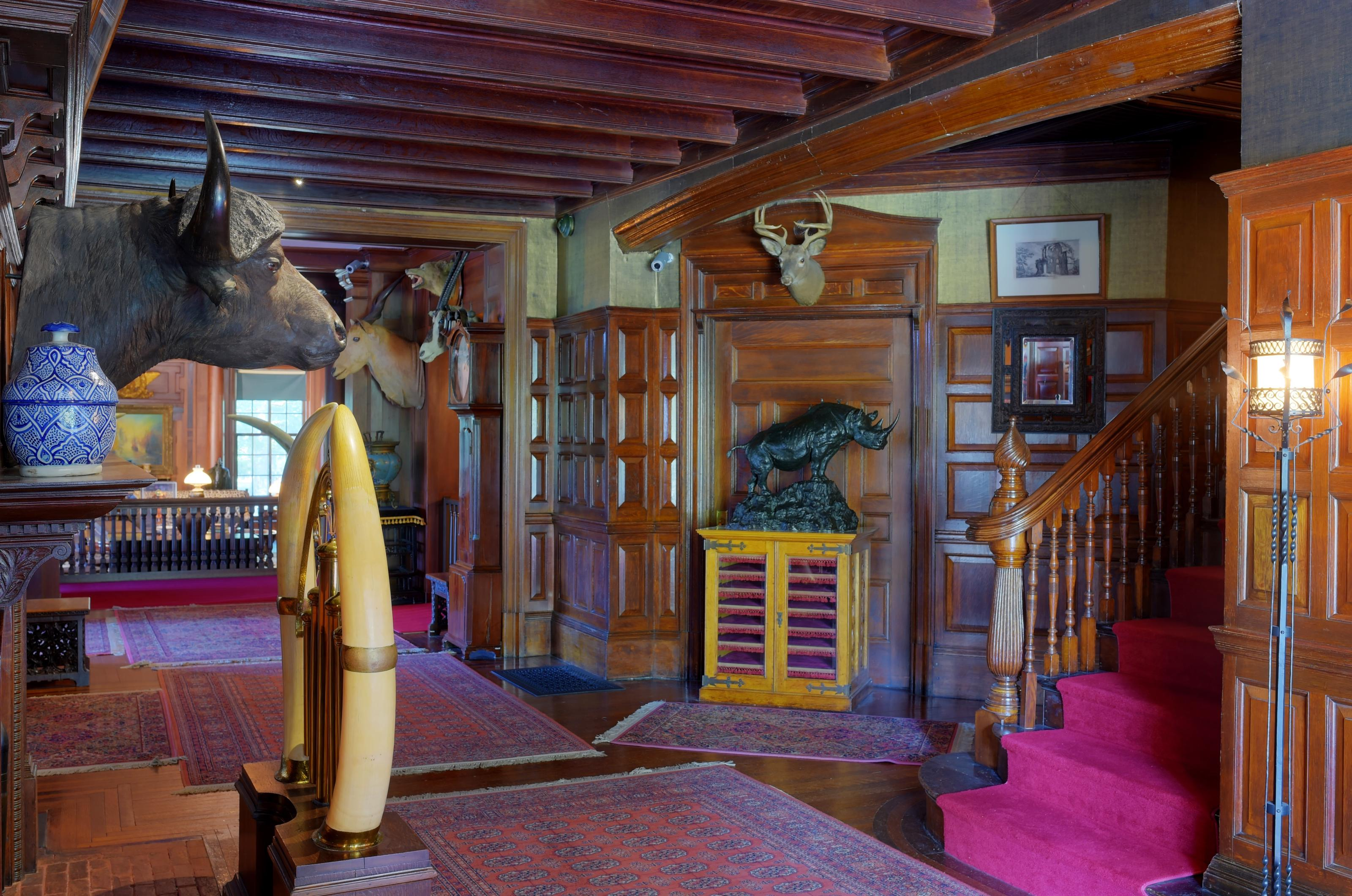 A hall wall with hunting trophies, oak paneled walls, and a staircase.The front hall of Sagamore Hill.
