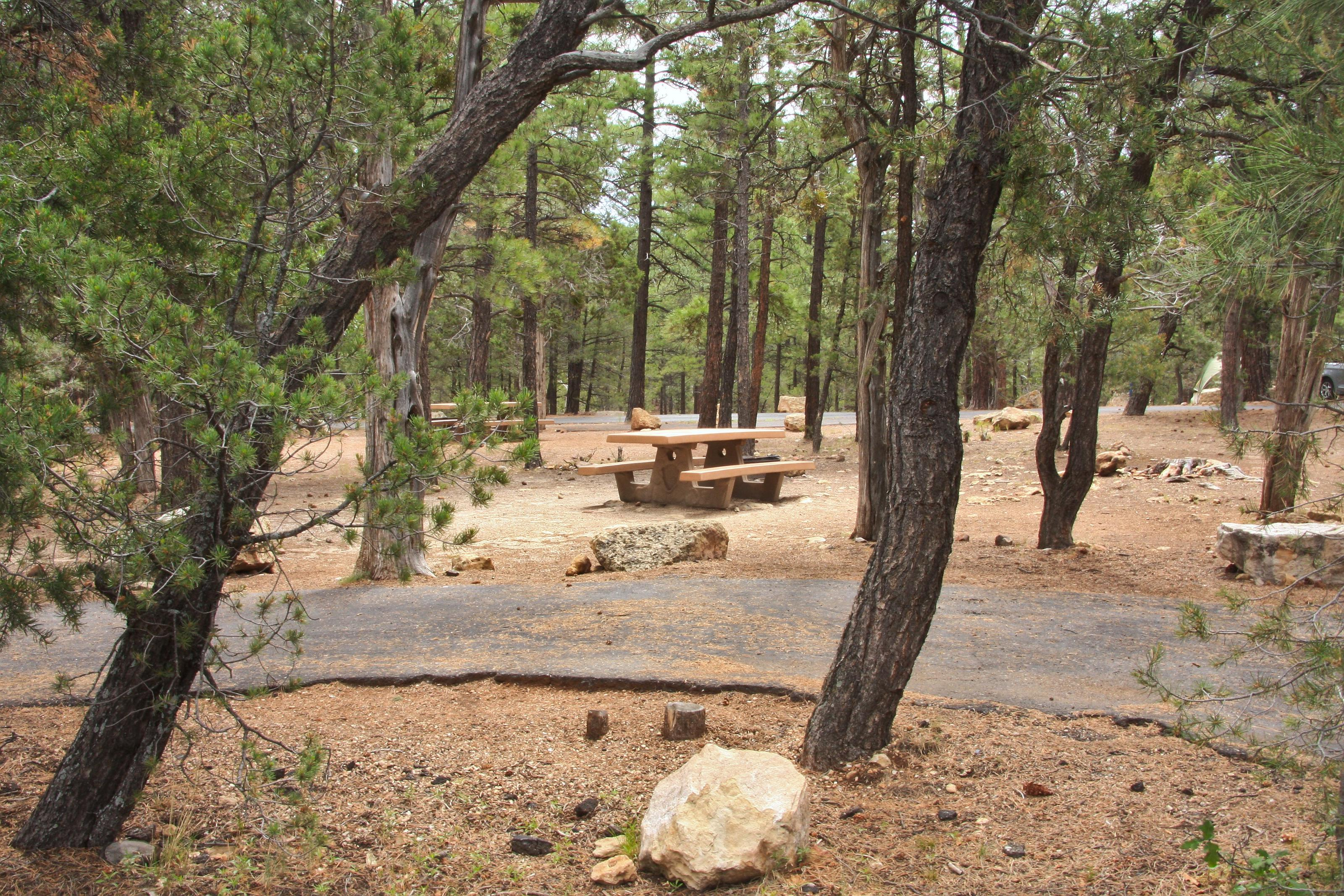 Picnic tableand parking spot, Mather CampgroundThe picnic table and parking spot for Aspen Loop 28, Mather Campground
