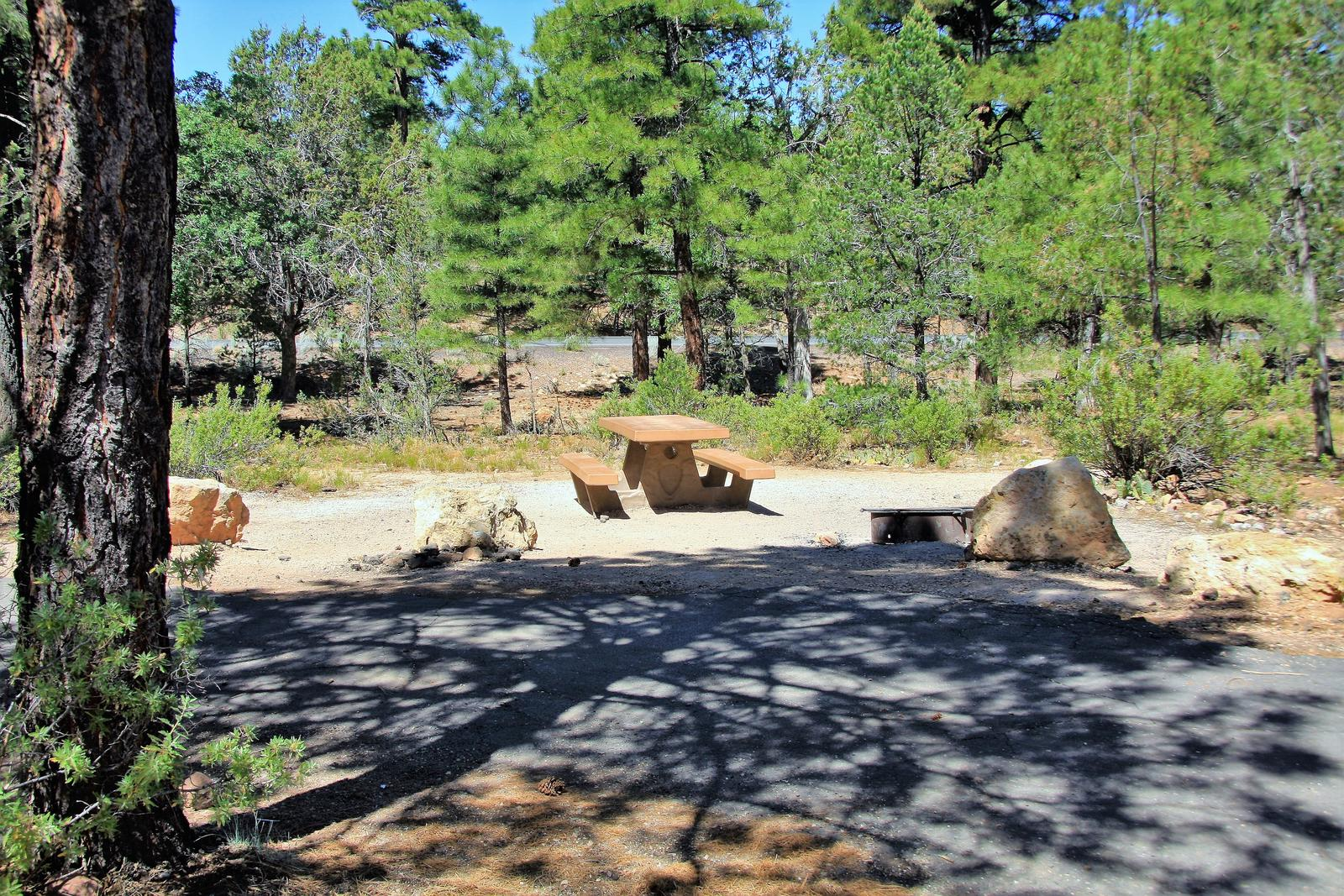 Picnic table, fire pit, and parking spot, Mather CampgroundThe picnic table, fire pit, and parking spot for Aspen Loop 35, Mather Campground
