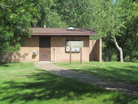 One of many comfort station/shower buildings in the Downstream Campground