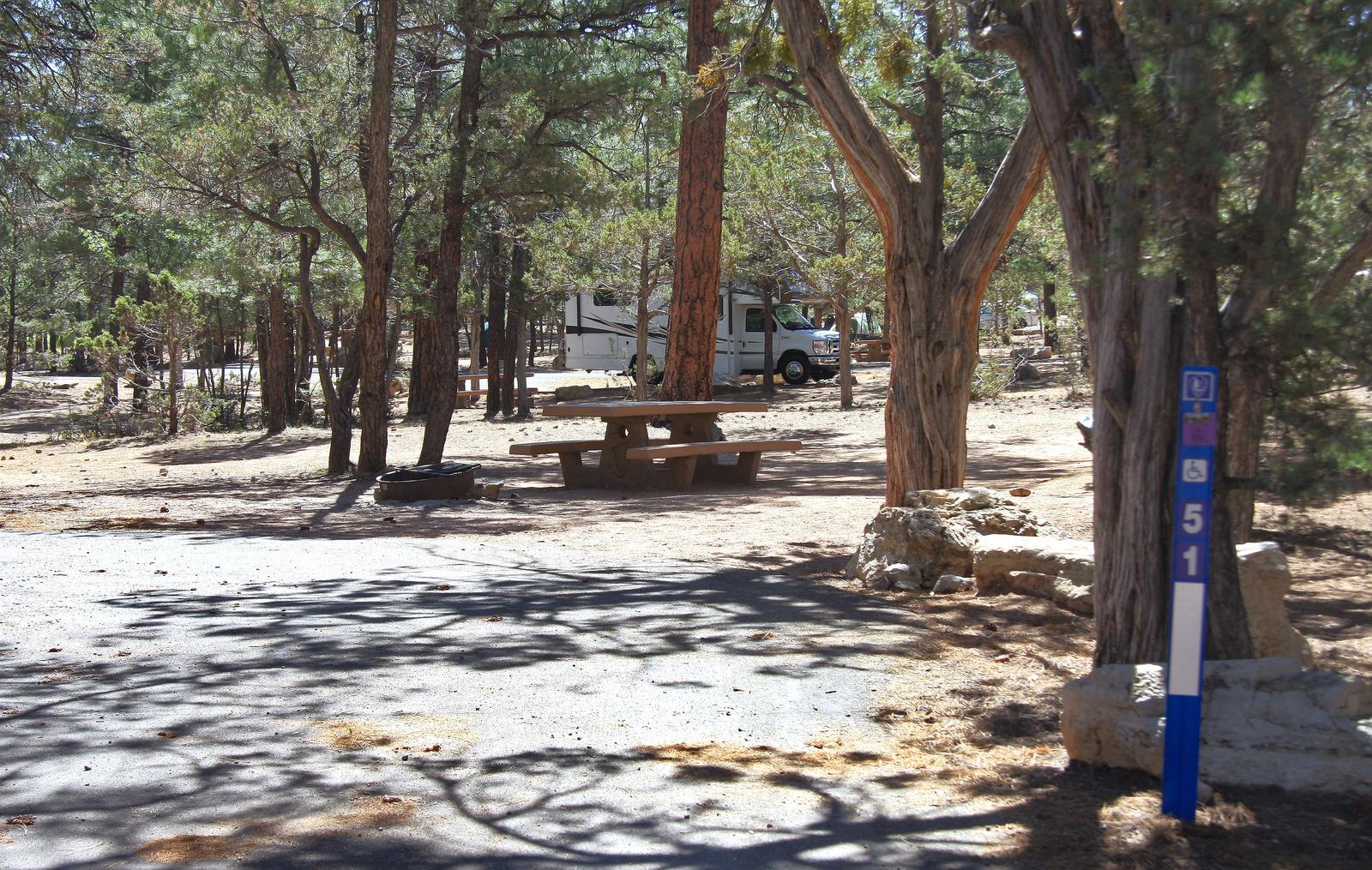 Picnic table, fire pit, and parking spot, Mather CampgroundThe picnic table, fire pit, and parking spot for Aspen Loop 51, Mather Campground