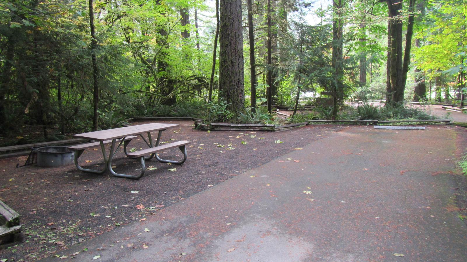 Tent pad with table and fire ring51' by 12' parking spur