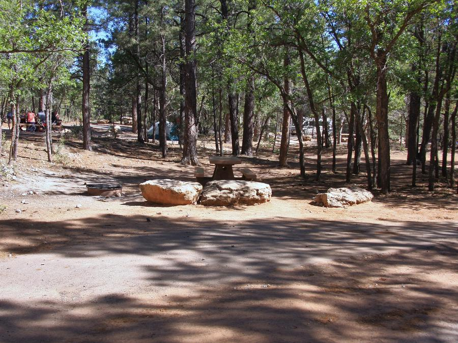 Picnic table, fire pit, and parking spot, Mather CampgroundPicnic table, parking spot, and fire pit for Fir Loop 62, Mather Campground