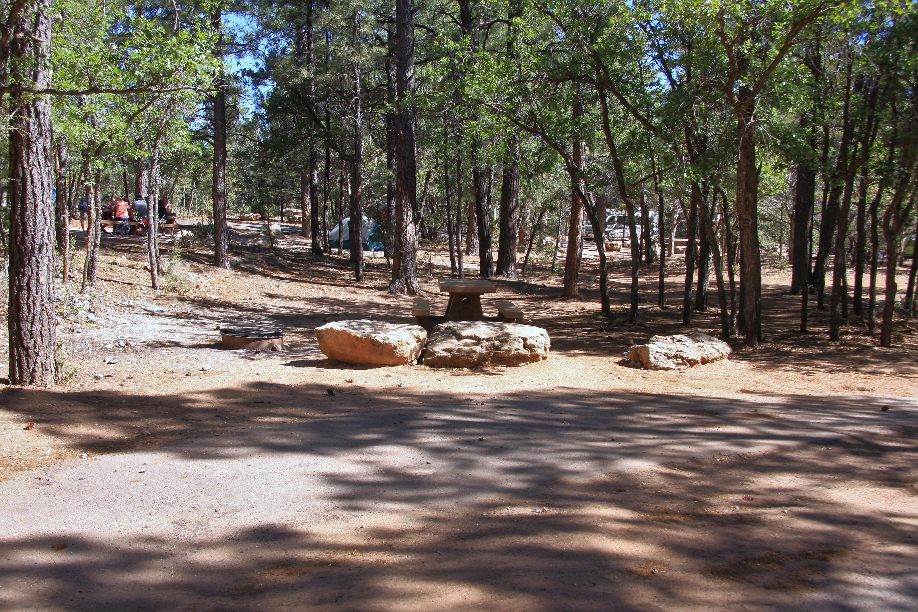 Picnic table, fire pit, and parking spot, Mather CampgroundPicnic table, fire pit, and parking spot for Fir Loop 62, Mather Campground