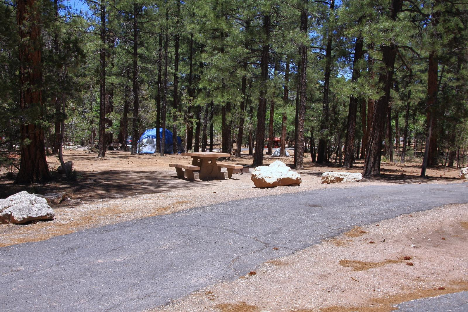 Picnic table, fire pit, and parking spot, Mather CampgroundPicnic table, fire pit, and parking spot for Fir Loop 64, Mather Campground