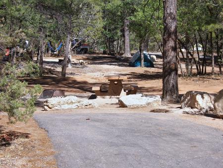 Picnic table, fire pit, and parking spot, Mather CampgroundPicnic table, fire pit, and parking spot for Fir Loop 65, Mather Campground