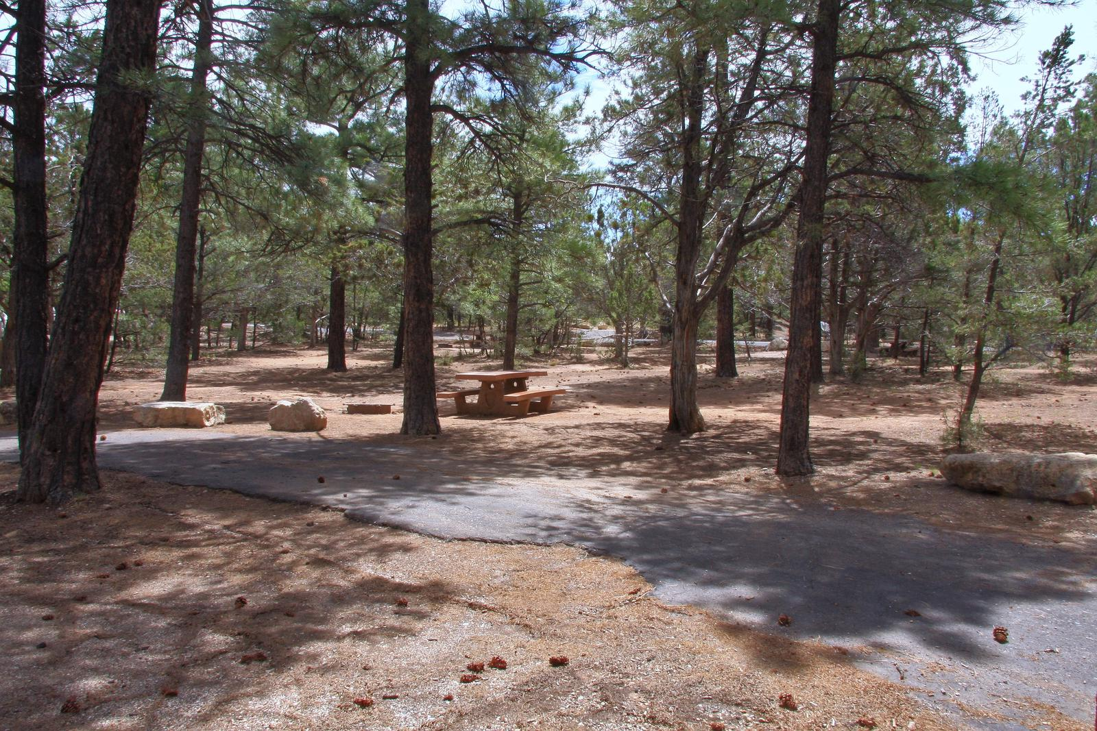 Picnic table, fire pit, and parking spot, Mather CampgroundPicnic table, fire pit, and parking spot for Fir Loop 66, Mather Campground