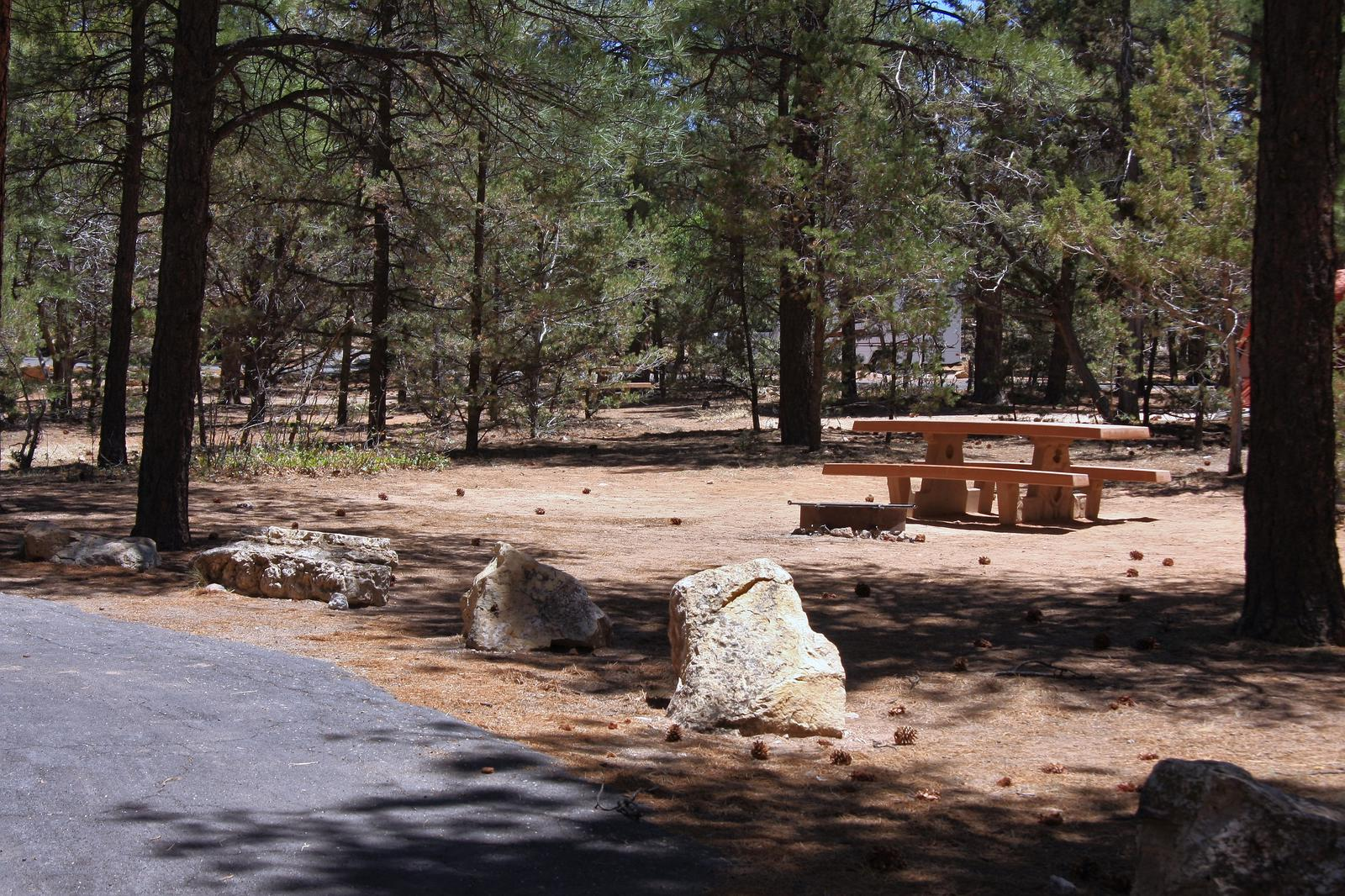 Picnic table, fire pit, and parking spot, Mather CampgroundPicnic table, fire pit, and parking spot for Fir Loop 68, Mather Campground
