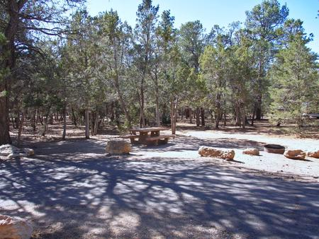 Picnic table, fire pit, and parking spot, Mather CampgroundPicnic table, fire pit, and parking spot for Fir Loop 71, Mather Campground