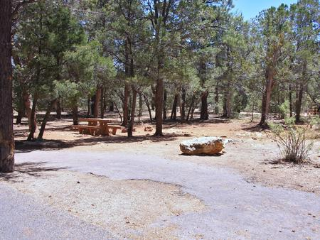 Picnic table, fire pit, and parking spot, Mather CampgroundPicnic table, fire pit, and parking spot for Fir Loop 73, Mather Campground
