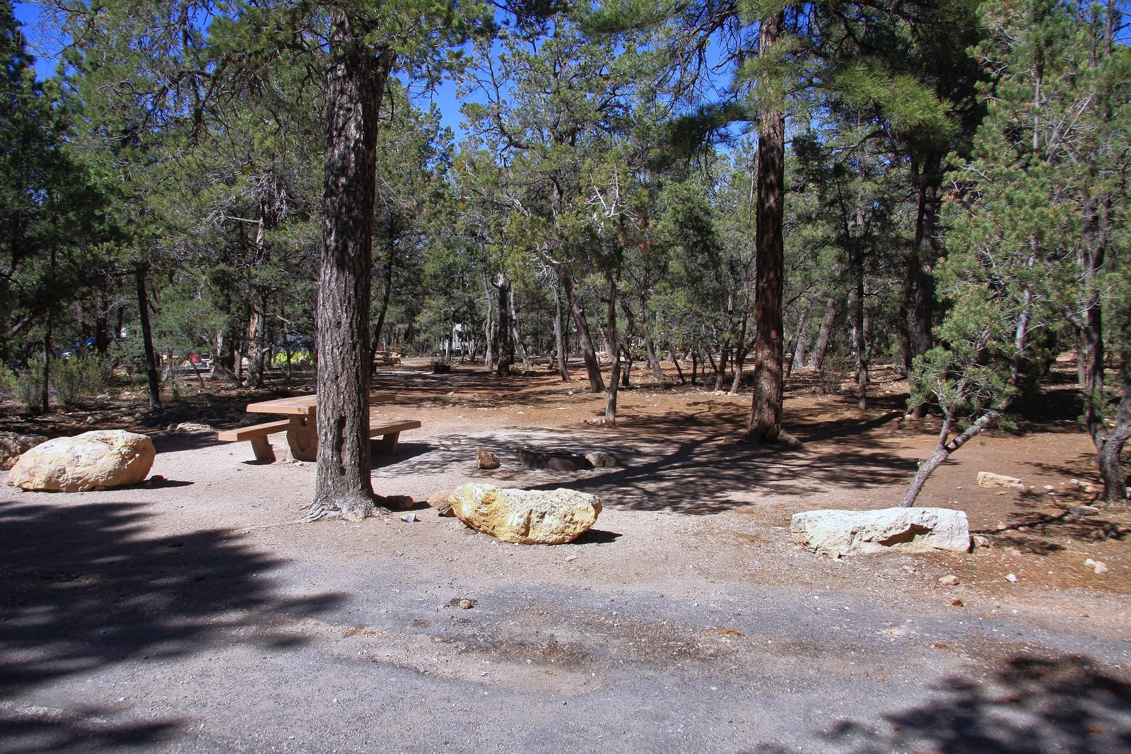 Picnic table, fire pit, and parking spot, Mather CampgroundPicnic table, fire pit, and parking spot for Fir Loop 78, Mather Campground