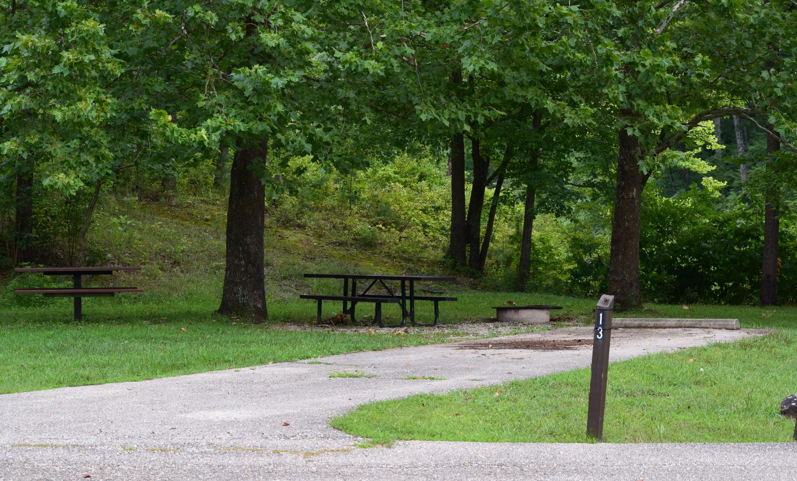 Campsite 13 showing parking spur, picnic tables, and fire ringCampsite 13