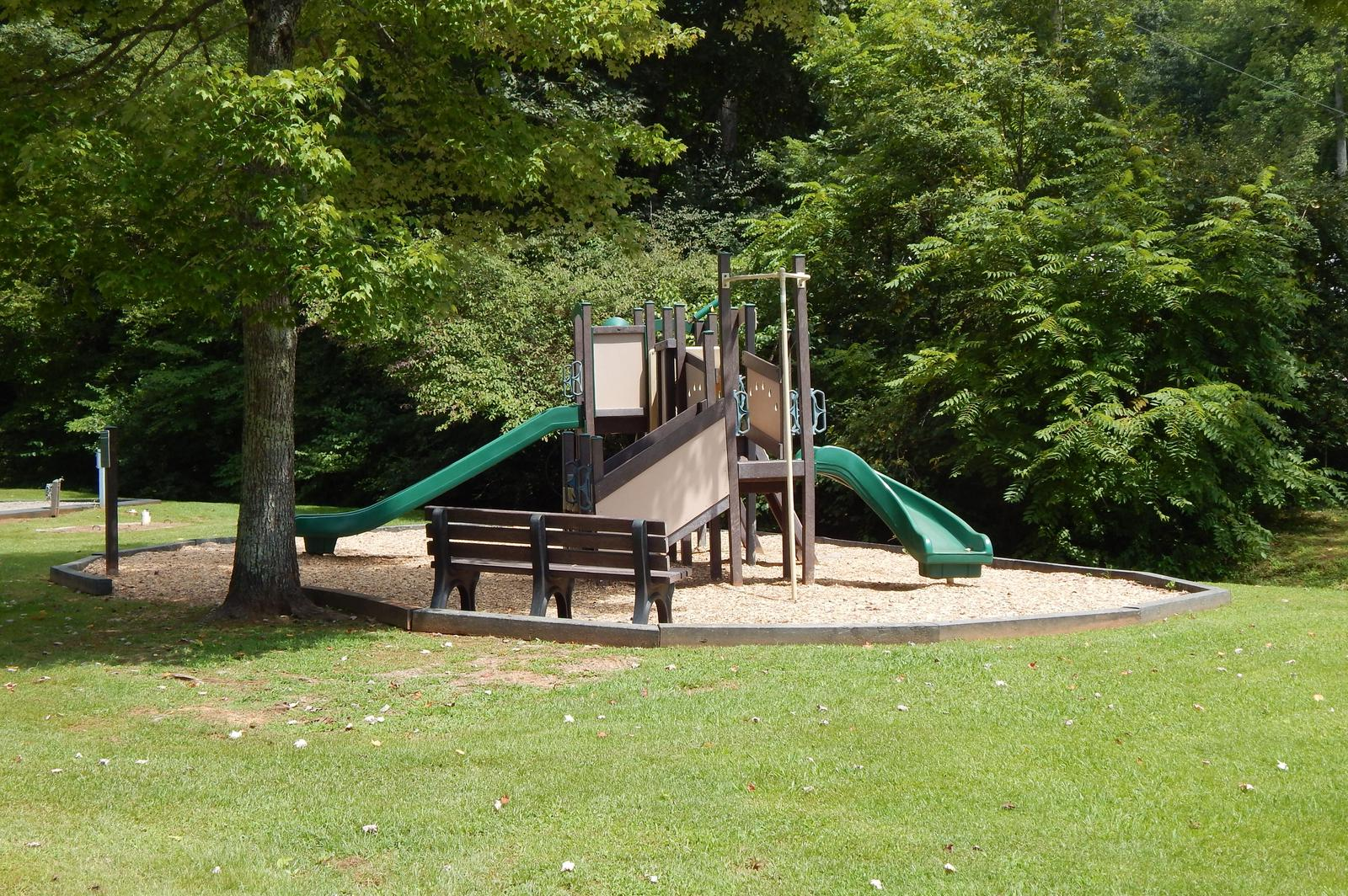 A small playground nestled in the trees and surrounded by manicured grass.A playground located at the campground.