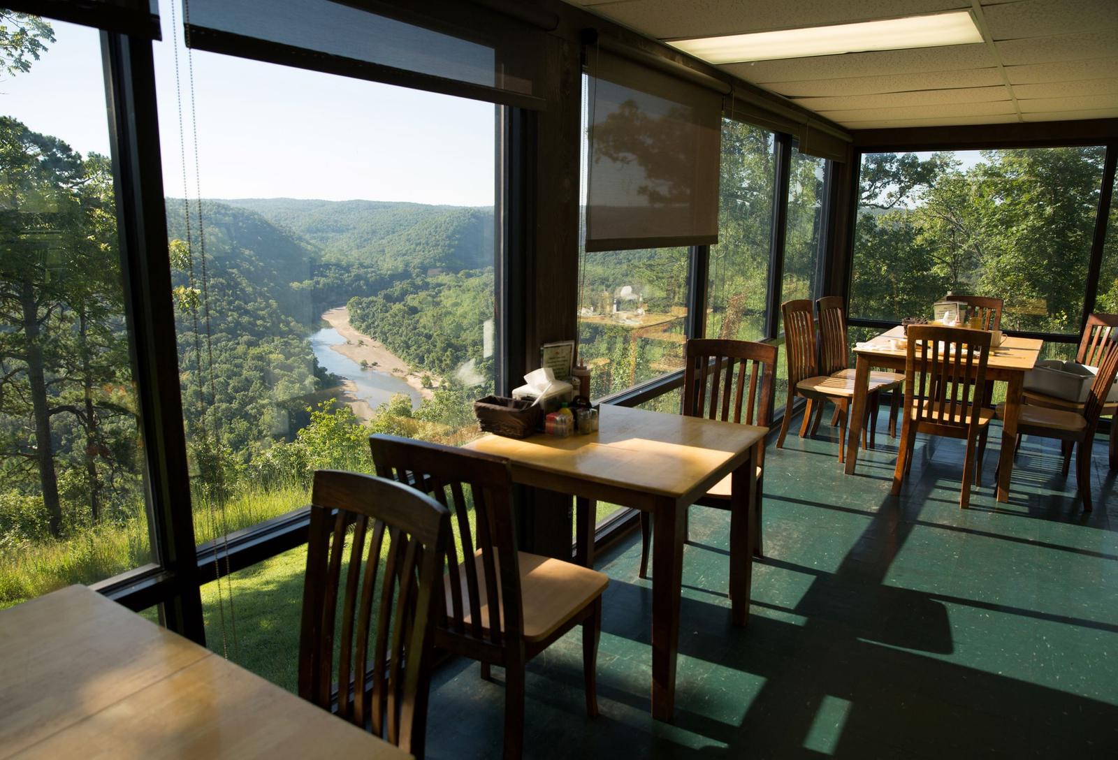 View from Buffalo Point RestaurantA view overlooking the Buffalo River as seen through the window at the Buffalo Point Restaurant.