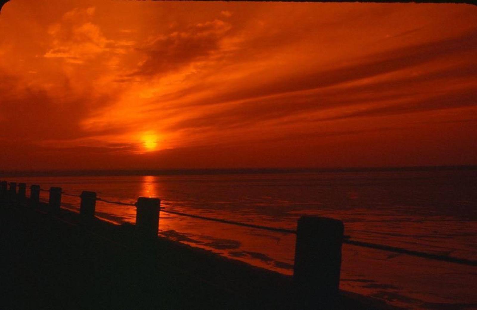 sunset with shoreline