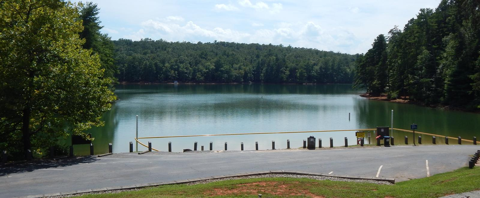 View of Philpott Lake from the parking area.Philpott Lake and parking area