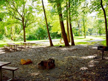 Group Campsite with 4 picnic tables, fire pit and grill
