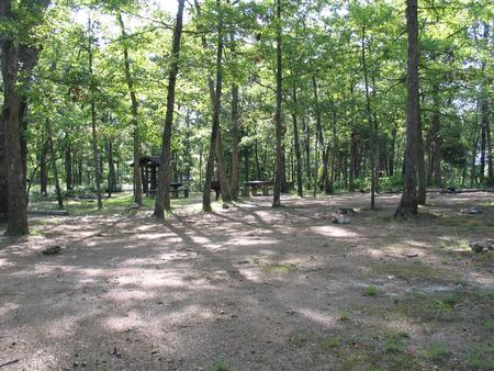 Group campsite C showing multiple tabels, fire rings, grill and food shelterGroup campsite C