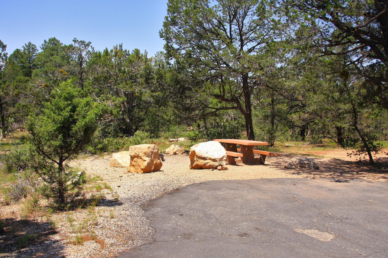 Picnic table, fire pit, and parking spot, Mather CampgroundPicnic table, fire pit, and parking spot for Juniper Loop 108, Mather Campground