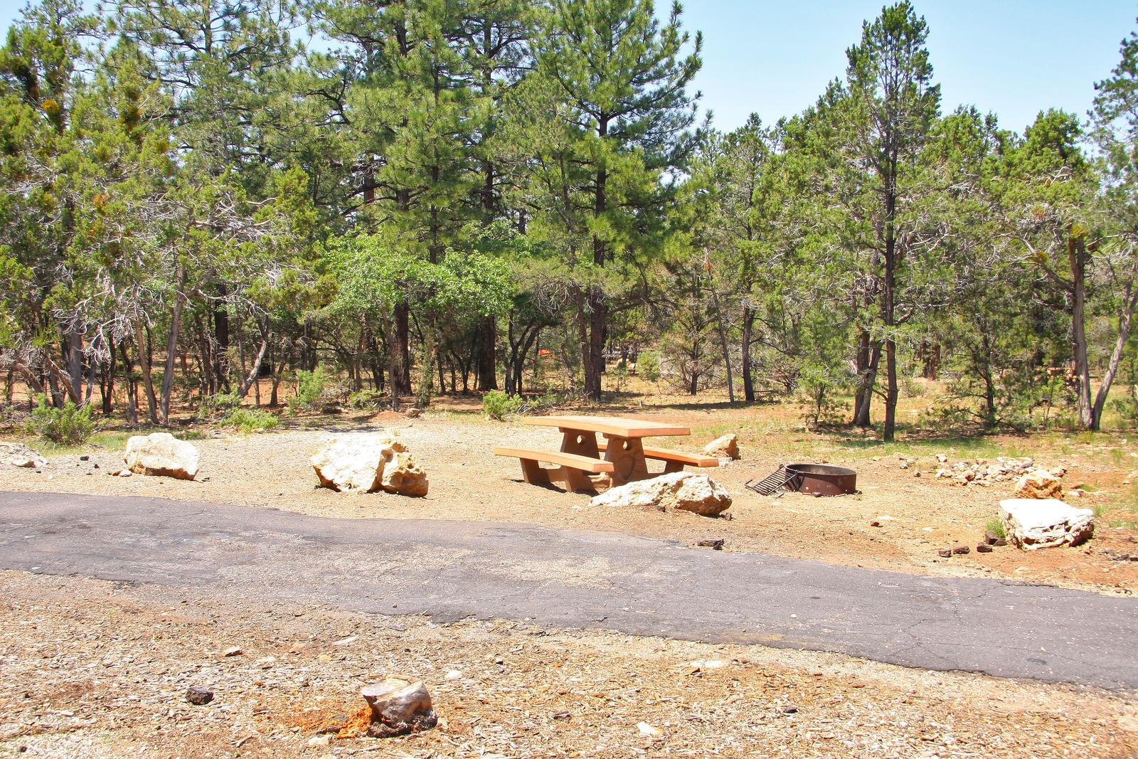 Picnic table, fire pit, and parking spot, Mather CampgroundPicnic table, fire pit, and parking spot for Juniper Loop 110, Mather Campground