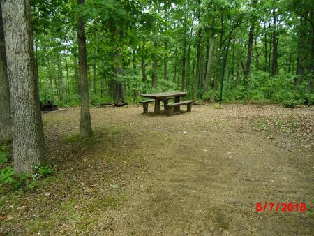 Walk-in campsite 4 showing picnic table, lantern post and fire ring.Walk-in campsite 4