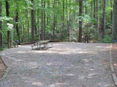 Gravel site with fire pit, table, grill  surrounded by tall pines Gravel site with fire pit, table, grill