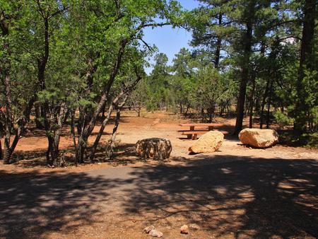 Picnic table, fire pit, and parking spot, Mather CampgroundPicnic table, fire pit, and parking spot for Juniper Loop 112, Mather Campground