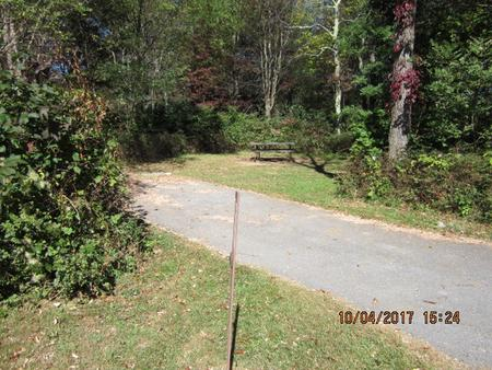 Loft Mountain Campground Site D130Site post and driveway
