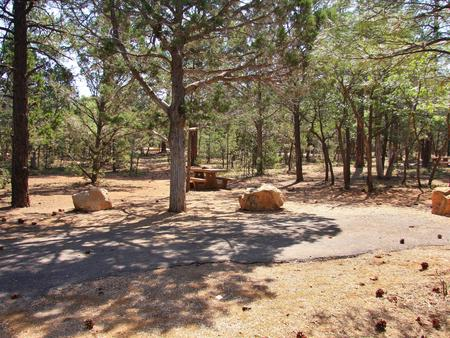 Picnic table, fire pit, and parking spot, Mather CampgroundPicnic table, fire pit, and parking spot for Juniper Loop 113, Mather Campground
