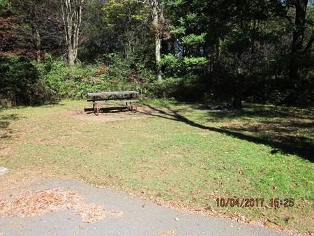 Loft Mountain Campground - Site D130Picnic table and fire pit on campsite