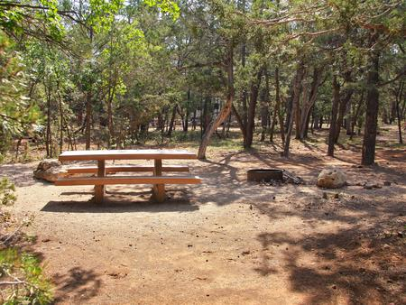 Picnic table, fire pit, and parking spot, Mather CampgroundPicnic table, fire pit, and parking spot for Juniper Loop 115, Mather Campground
