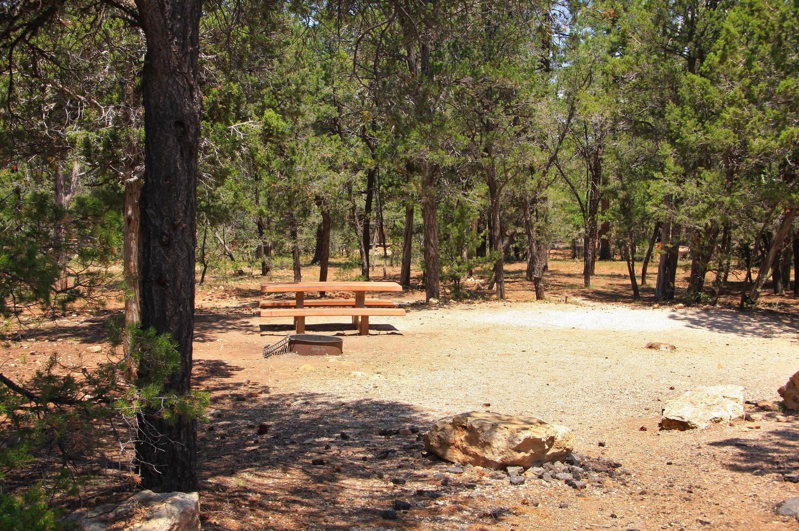 Picnic table, fire pit, and parking spot, Mather CampgroundPicnic table, fire pit, and parking spot for Juniper Loop 116, Mather Campground