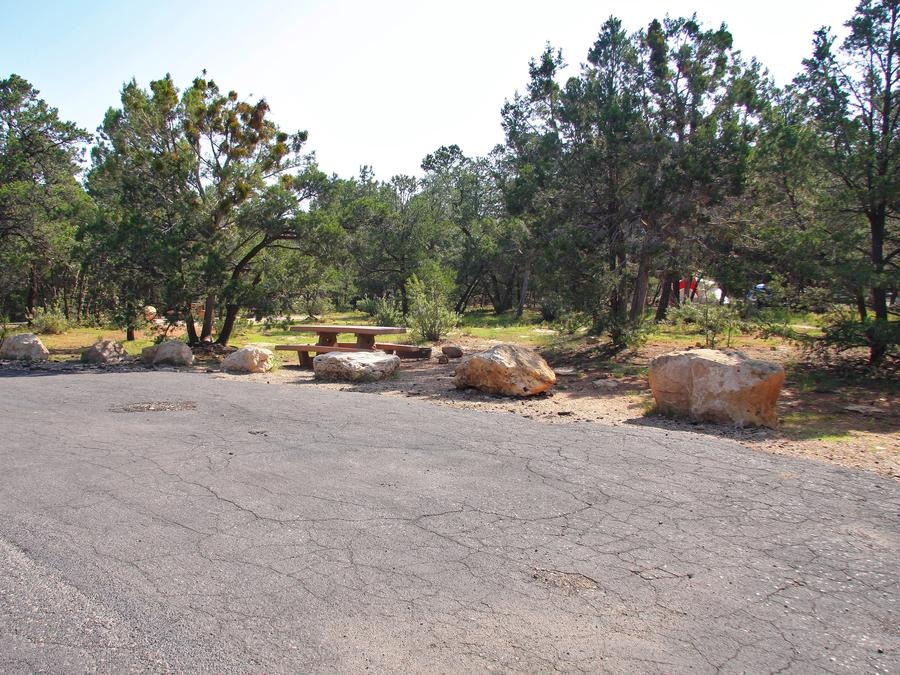 Picnic table, fire pit, and parking spot, Mather CampgroundPicnic table, fire pit, and parking spot for Juniper Loop 119, Mather Campground