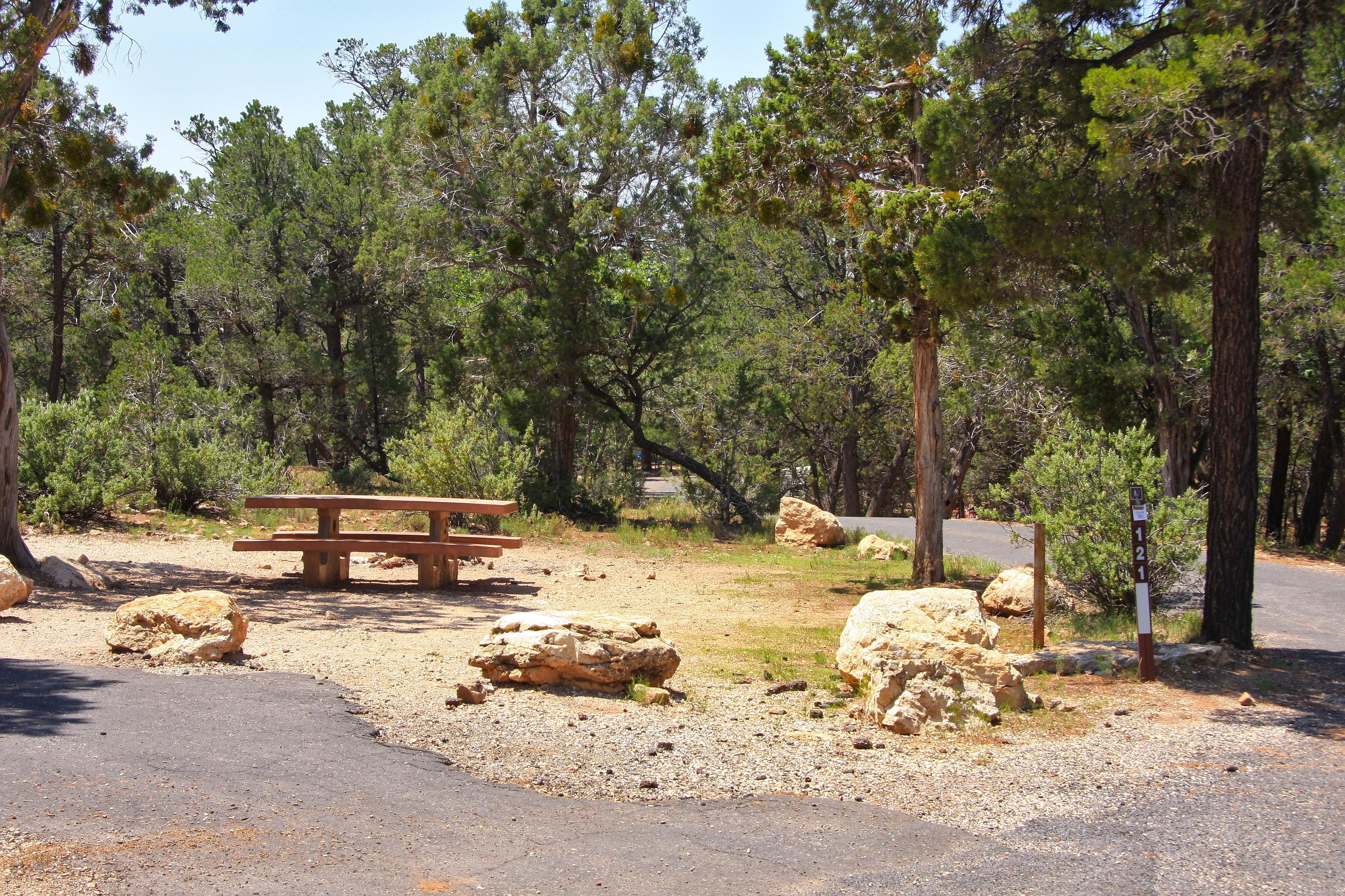 Picnic table, fire pit, and parking spot, Mather CampgroundPicnic table, fire pit, and parking spot for Juniper Loop 121, Mather Campground