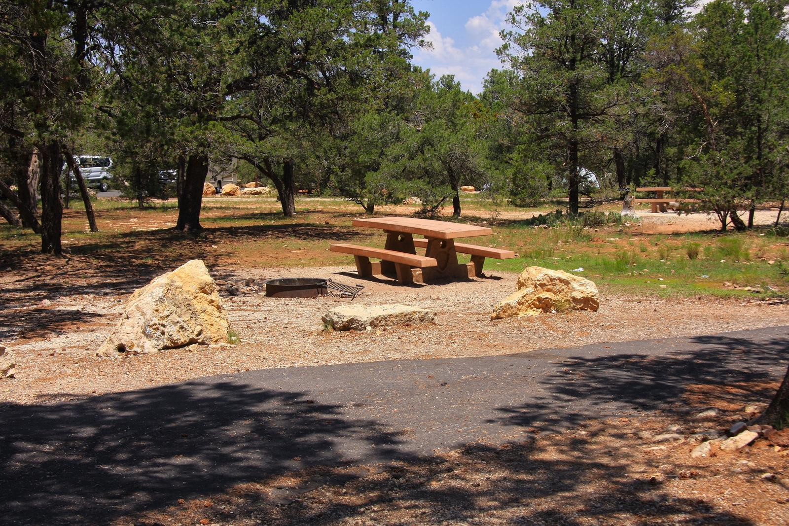 Picnic table, fire pit, and parking spot, Mather CampgroundPicnic table, fire pit, and parking spot for Juniper Loop 123, Mather Campground